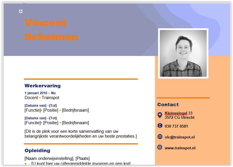 mooie cv maken in word Snel en eenvoudig een mooi CV maken in Word   Trainspot