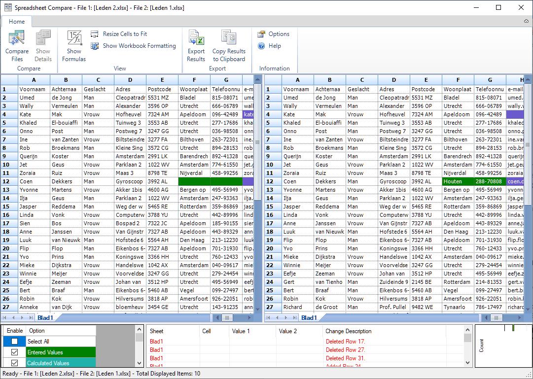 Excel spreadsheet compare - bestanden vergelijken