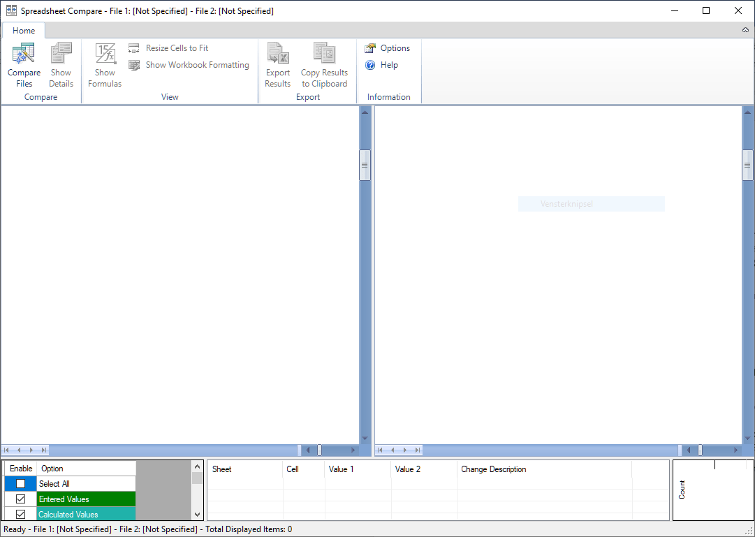 Excel spreadsheet compare - leeg scherm